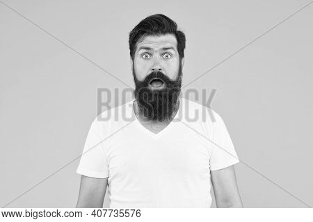 Surprised Face Expression Bearded Man Yellow Background, Surprise Concept.