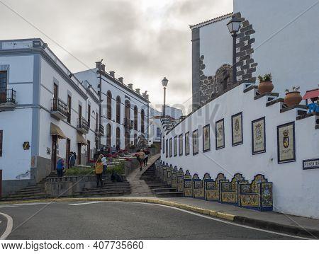 Firgas, Gran Canaria, Canary Islands, Spain December 13, 2020: View Of Street Paseo De Gran Canaria