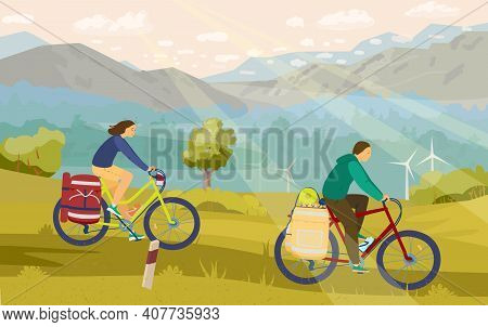 Young Couple In Mountain Bike Camping With Great View On The Background. Cyclists With Back Packs In
