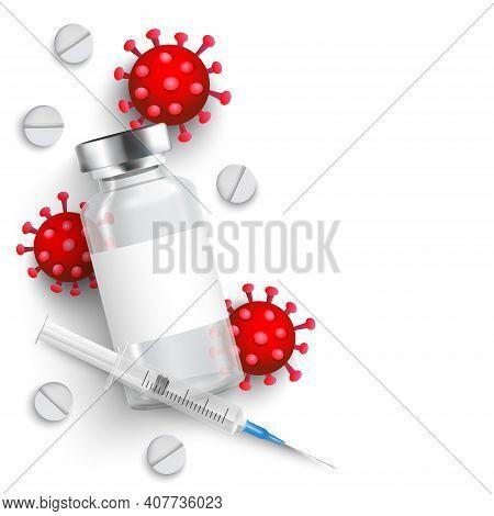 Coronavirus Vaccine Vector Background. Covid-19 Corona Virus Vaccination With Vaccine Bottle And Syr