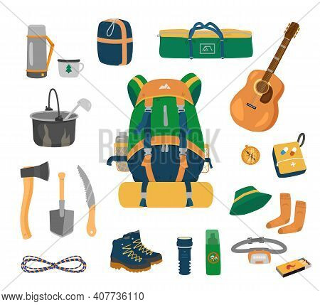 Camping Equipment Set. Backpack, Tent, Sleeping Bag, Thermos, Utensils,  Tools, Rope,hiking Boots, F