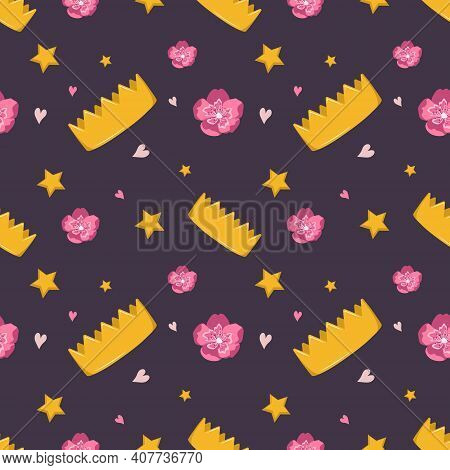 Cute Seamless Pattern With Crown, Flowers And Stars On A Dark Background. The Bright Print Is Suitab