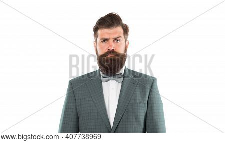 Business Suits For Men. Male Fashion Model Posing. Handsome Brunette Model With Beard And Moustache.