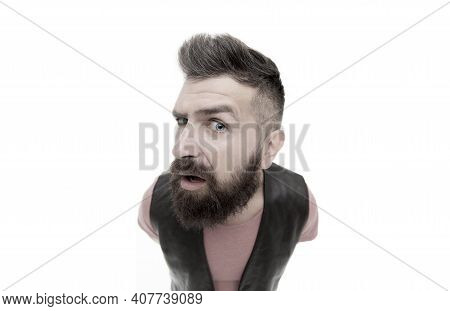 Hey You There. Masculinity And Brutality. Lumbersexual Well Groomed Hipster Looking At Camera. Hipst