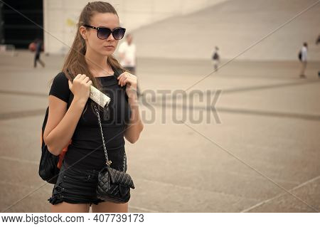 Journey In City. Sensual Woman Travel On Urban Landscape. Journey On Foot. Wanderlust And Travelling