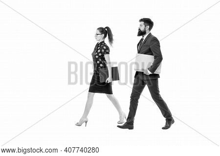 Employment Activity. Professional Couple Isolated On White. Employer And Employee. Sexy Woman And Hi