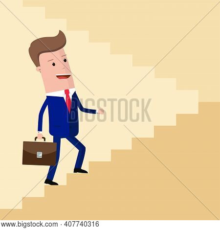 Rising Up. Businessman Rising Up The Stairs. Business Concept Growth And The Path To Success .vector