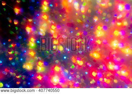 Colorful Bokeh Rainbow Wallpaper. Blurry Holographic Unicorn On Dark Background. Kaleidoscope Ray. H
