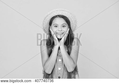 Moments Of Happiness. Small Child On Yellow Background. Holiday Joy And Activity. Beauty. Long-await