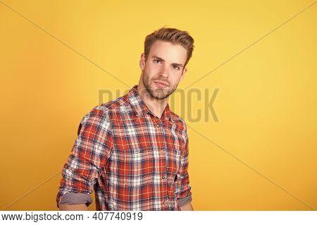 I Like My Style. Male Beauty Standard. Fashion Model On Yellow Background. Sexy Unshaven Man. Denim