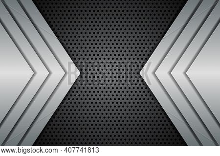Abstract Modern Background With Metal Shapes On Carbon Fiber. Carbon Fiber Textured Pattern With Met