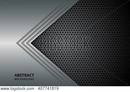Carbon Fiber Textured Pattern With Metallic Silver Arrows. Abstract Modern Background With Metal Sha