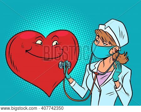 A Female Doctor Listens To The Heart. Valentines Day. Cartoon Comic Book Pop Art Illustration Drawin
