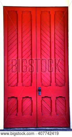 Antique Red Wooden Doorway