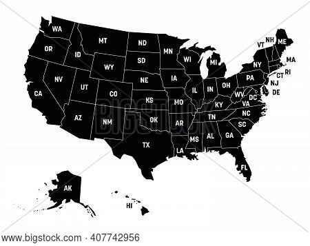Black Map Of United States Of America, Usa, With State Postal Abbreviations. Simple Flat Vector Illu