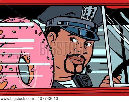A Cop In A Car With A Doughnut. Cartoon Comic Book Pop Art Illustration Drawing