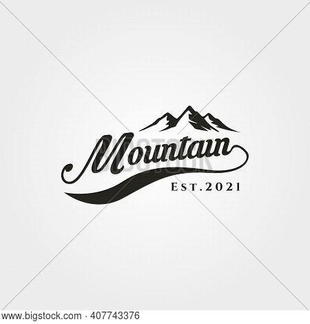 Mountain Adventure Lettering Logo Vector Symbol Illustration Design, Outdoor Mountain Hike Logo Symb
