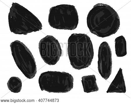 Set Of Abstract Expressive Textured Black Ink Or Watercolor Round And Square Shapes. Dynamic Isolate