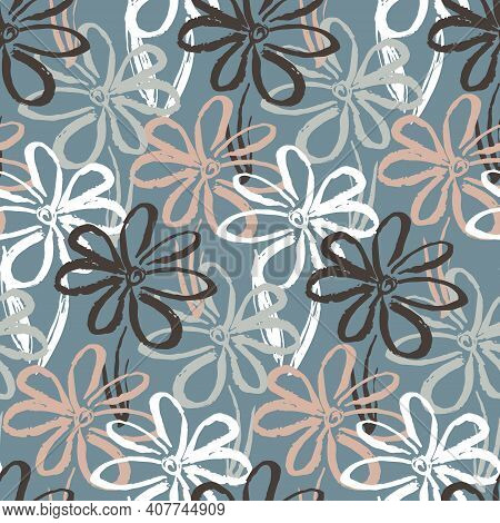 Abstract Seamless Pattern With Contrast Pale Colors Hand Drawn Inky Chamomile Flowers. Cute Summer F