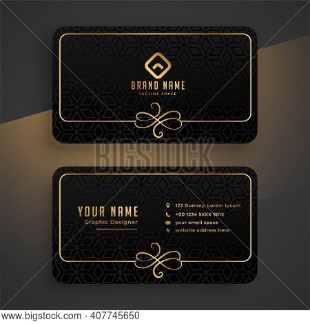 Black Dark And Golden Business Card Template
