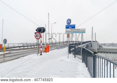 Entrance To Bridge Of 100th Anniversary Of Regaining Independence (polish: Most 100-lecia Odzyskania