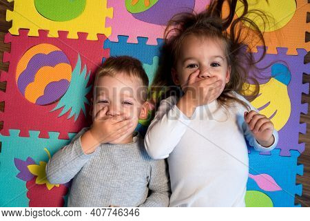 Childhood, Family Friendship, Games - Close Up Portrait Two Funny Happy Little Toddler Peschool Kids