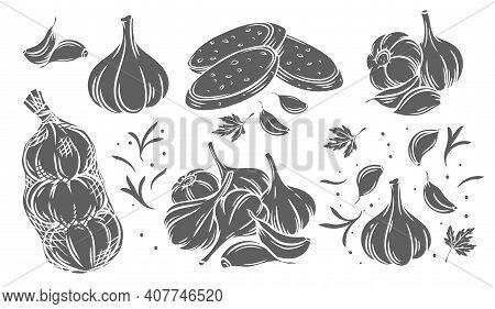 Garlic Glyph Monochrome Icon Set. Silhouette Pile Of Garlic Bulbs, In Net Bag And Runchy Garlic Brea