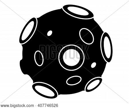 Asteroid - Vector Silhouette Picture For Logo Or Pictogram, Satellite Is A Small Space Body. Planeto