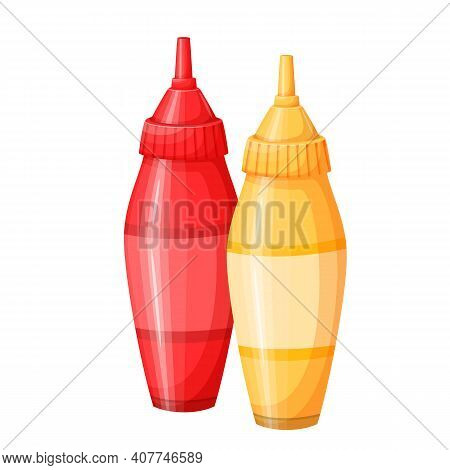 Mustard And Tonato Ketchup Vector Icon. Dispensers For Mustard And Ketchup, Fast Food Topping Squeez