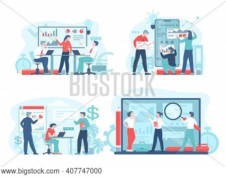 Business Workflow Or Teamwork Process Concept Flat Set Vector Illustration. Men And Women Characters