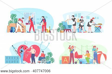 Cleaning, Maid, Babysitter And Nurse Concept. Female Babysitter Care Kids, Team Of Home Cleaners, Nu