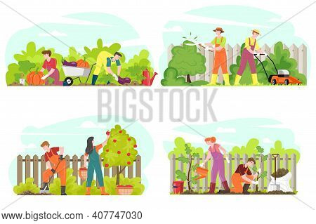 Gardening People Farmers Gathering Harvest, Planting Trees, Working People Mowing Grass Trimming Shr