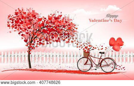 A Pink  Holiday Valentine's Day Background. Bicycle With A Red Ballons And Tree With Heart-shaped Le
