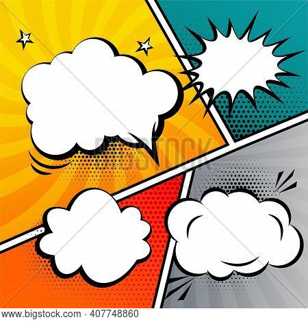 Comic Strip Speech Bubble And Expressions Template
