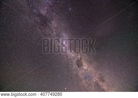 Purple And Green Milky Way On A Clear Night. No Star Trails, Clean And Crisp