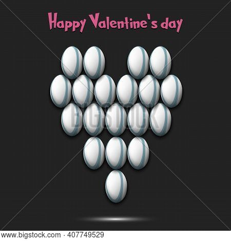 Happy Valentines Day. Heart Made Of Rugby Balls