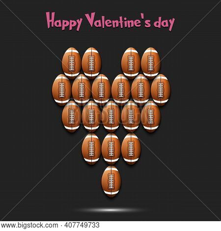 Happy Valentines Day. Heart Made Of Football Balls