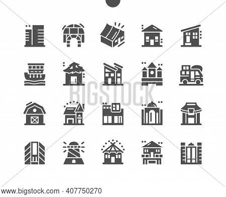 House Types. Modern House. Business, Commercial Building. Real Estate. Vector Solid Icons. Simple Pi