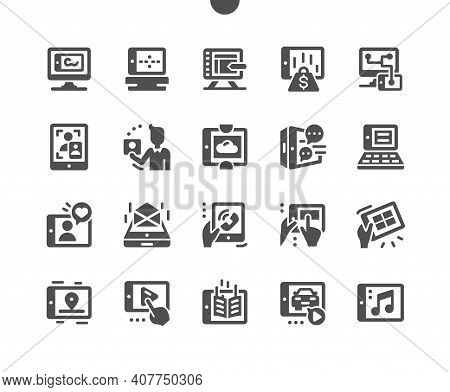 Tablet Usage. Data Storage. Navigation And Communication. Work On Tablet. Touchscreen, Cell, Phone,
