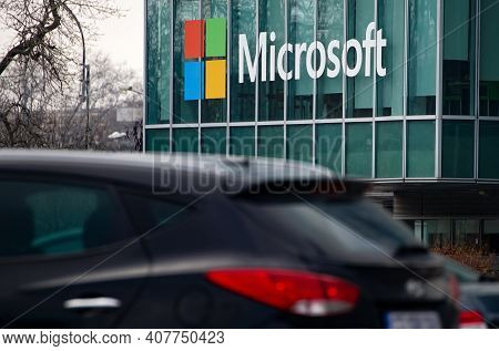 Bucharest, Romania - January 20, 2021: View Of Microsoft Romania Headquarters In City Gate Towers Si