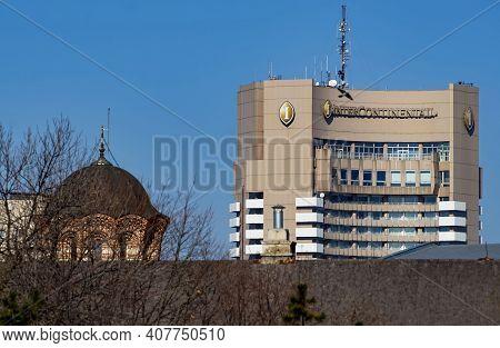 Bucharest, Romania - February 04, 2021: Intercontinental Bucharest Hotel Located In Bucharest, Roman