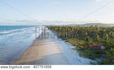 Drone Aerial View Of Deserted Tropical Beach In Ilheus Bahia Brazil.