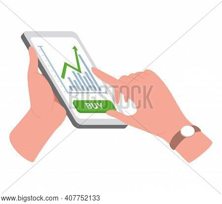 Financial Success And Internet Trading Concept. Hands Holding Smartphone With Trading Application Ve