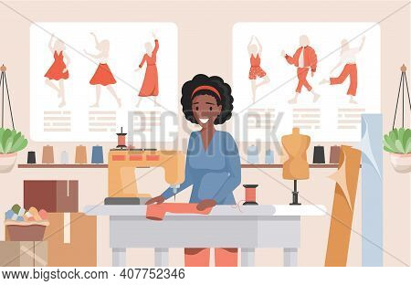 Woman Working At Sewing Machine In The Atelier Or Fashion Sew Studio Vector Flat Illustration. Smili