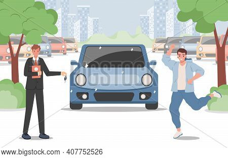 Happy Smiling Man In Casual Clothes Buying A Car Vector Flat Illustration. Seller Man Wearing Suit G