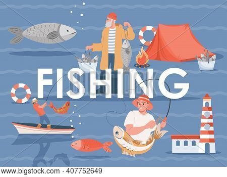 Fishing Vector Flat Banner Template With Text Space. Summer Vacation Or Weekend, Fishing Sport Poste