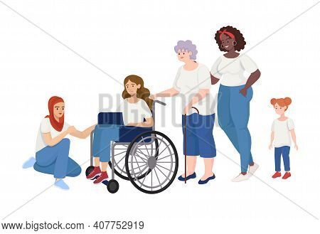 Girl Power Vector Flat Concept. Women Of Different Ages And Rases Standing Together. Female Characte