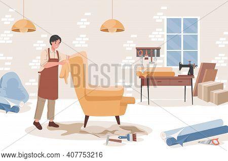 Carpenter At Furniture Workshop Making Comfortable Armchair Vector Flat Illustration. Man In Apron A