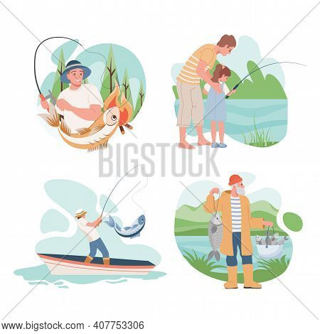 Set Of Fishing People Vector Flat Illustration. Happy Smiling Men Catching Fish In The Lake Or Sea,
