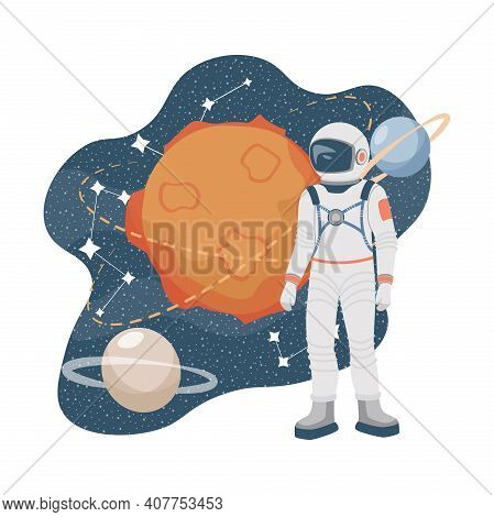 Space Explorer In Spacesuit And Outer Space Vector Flat Illustration. Astronaut In Space Suit. Plane